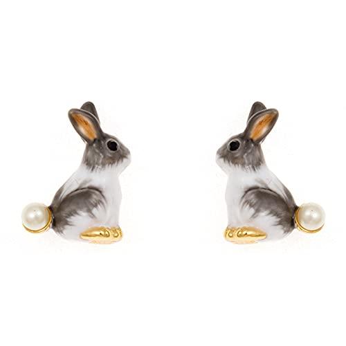 DFDLNL Orejeras para Mujer Esmalte 3D Conejo Blanco Perla Pendientes Novia Regalo de cumpleaños para niña Adolescente