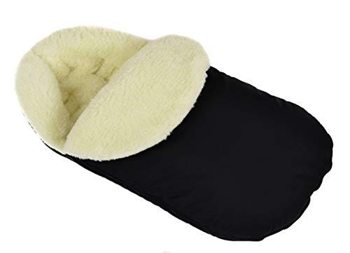 Chancelière universelle pour poussette d'hiver pour coque bébé sac de couchage footmuff Laine noir Grande taille 105 cm avec capuche [071]