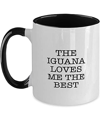 N\A Iguana Two Tone Coffee Mug - The Iguana Loves Me The Best - Funny Iguana Lover - Ideal para cumpleaños, Navidad, él, Ella, Hombres, Mujeres