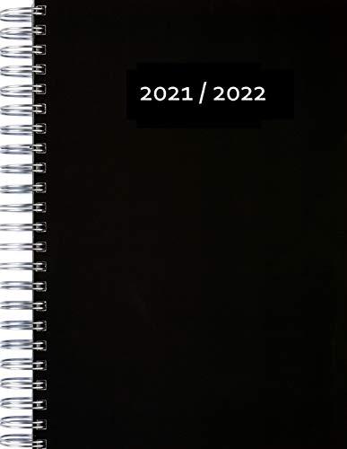 Calendario grueso 2021/2022 (31.7.21 – 31.7.22) – Negro – Espiral – Un espacio de página DIN A4 completo por día – Agenda diaria | calendario de oficina | agenda