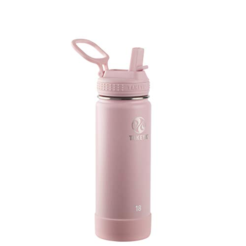 Takeya 18oz Actives Insulated Stainless Steel Water Bottle with Straw Lid - Blush