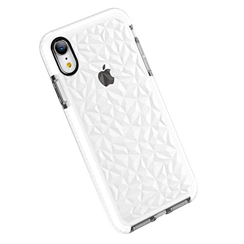 Funda iPhone XR, Carcasa Silicona Transparente Protector TPU Airbag Anti-Choque Ultra-Delgado Anti-arañazos Case 3D Modelo Geométrico de Diamante Funda para Teléfono (iPhone XR, Blanco)