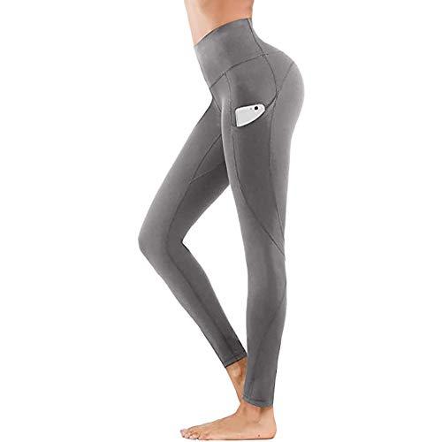 B/H Mujer Gym Yoga Pantalon,Pantalones de Yoga Ajustados Que levantan la Cadera, Leggings de Barriga de Fitness-Gris_L,Elástico Transpirable Pantalones