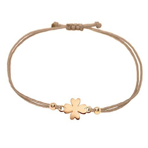 Glücksarmband - Kleeblatt Armband Rosegold auf braunem Band - Selfmade Jewelry Glücksbringer Handmade In Germany - Inkl. Geschenkverpackung/Schmucksäckchen