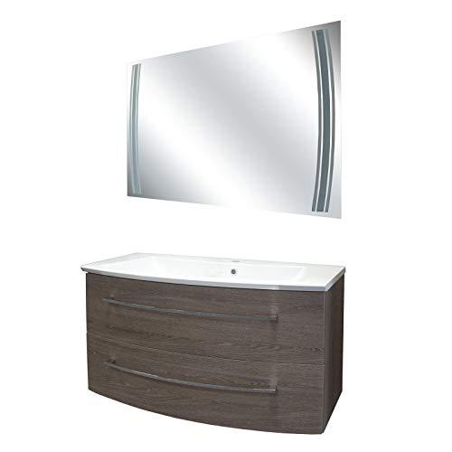 FACKELMANN Dunkles Badmöbel Set 3-TLG. Rondo mit Waschtisch Unterschrank hängend Gussmarmorbecken 100 cm & LED Badspiegel