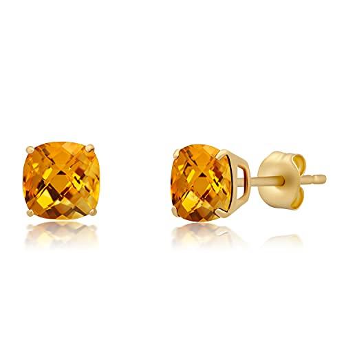 Pendientes de tuerca de oro amarillo o blanco macizo de 14 quilates con piedras preciosas de corte de tablero de ajedrez (6 mm)