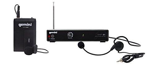 Gemini VHF Series VHF-01HL-C6 - Auriculares de diadema inalámbricos con sistema VHF y micrófono de lavalier (alcance de 100 pies)