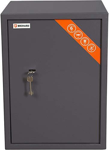 Brihard Business XL Tresor Safe mit Schlüssel-Schloss, 50x35x36cm (HxWxD), Titan Grau