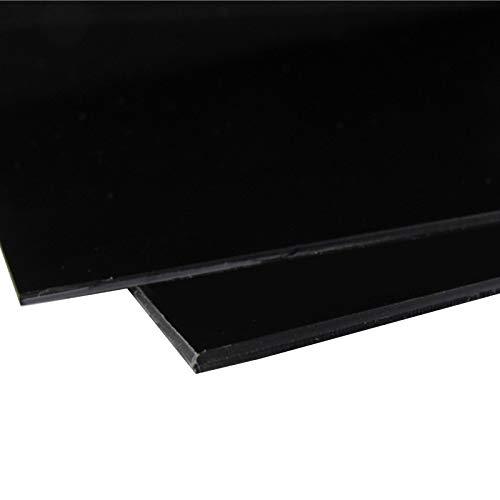 JKGHK Lastra di Plastica ABS Tavola Dura Adatto per Realizzare Segni di Incisione E Accessori, 200 Mm X 200 Mm, 2 Pezzi,Nero,Thickness:10mm