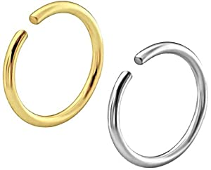 Via Mazzini Surgical Steel 8mm No Rusting Pack Of 2 Pcs Clip-On Non-Pierced Nose Ring For Women And Girls (NR0115) 2 Pcs