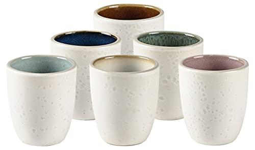 BITZ Espressotassen, Tassen-Set für Kaffee und Espresso, aus Steinzeug, 10 cl, Spülmaschinenfest, Set aus 6 Stück, Matt Creme