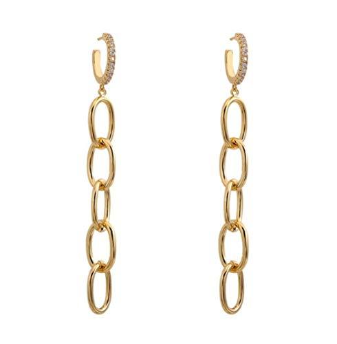 MXHJD Diseño Pendientes colgantes de cadena larga de Color dorado para mujer Pendientes colgantes de cadena de eslabones gruesos de cristal colgante Punk para mujer