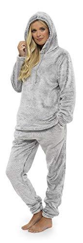 Womens Pyjamas Set Pyjama für Frauen Pjs Sets Damen Loungewear Super Soft Lounge tragen Prosecco Star Feather (M - 12/14, Kapuzen zweifarbig grau)