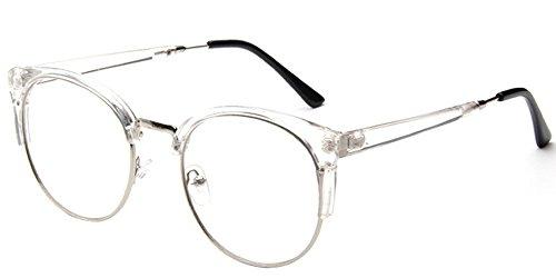 BOZEVON Klare Linse Transparente Gläser - Runde Ultradünne Metallrahmen Lesebrille Dekor Retro Brillen Brillen Für Damen & Herren Transparent (Halber Rahmen)