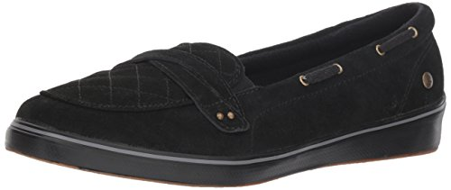 Grasshoppers Women's Windham Suede Boat Shoe, Black, 6 M US