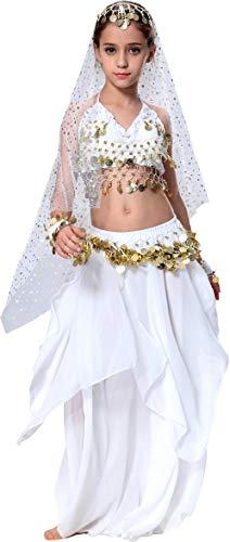 Seawhisper Bauchtanz Kostüm Kinder Mädchen Faschingskostüm Indische Kleider Rock Oberteil Weiß 152/158