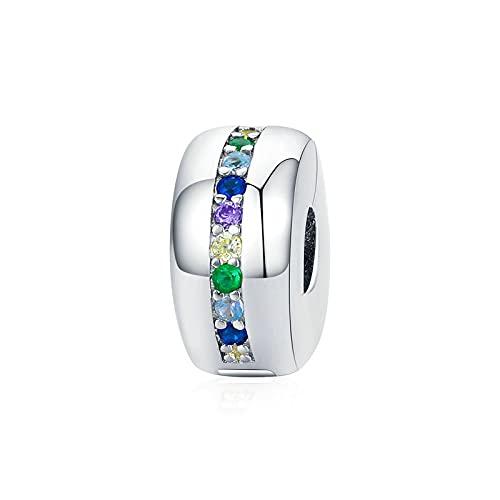 LIJIAN DIY 925 Sterling Jewelry Charm Beads Col Ful Rainbow Hebilla Stone Stopper Haga Originales Pandora Collares Pulseras Y Tobilleras Regalos para Mujeres