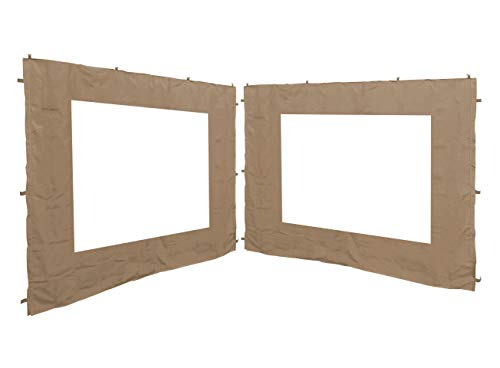 QUICK STAR 2 Side Panels with PE Window 250x190cm Beige for Gazebo 3x3m