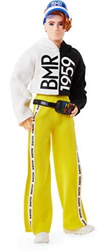 Barbie BMR1959 Fully Poseable Ken Doll (Red Hair, 12.5-inch) with Freckles, Split Color Hoodie with Track Pants and Visor, with Doll Stand