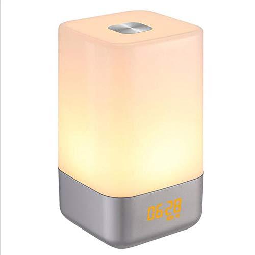 Smotly weklicht, multifunctionele elektronische wekker, LED-nachtlampje, kleurrijk natuurlijk waxlicht