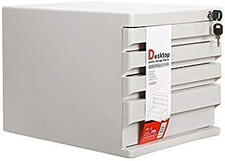 KANJJ-YU Tiroir de bureau Sorter, 4 couches avec l'information Serrure de tiroir en plastique Bureau A4 Stockage Noir, Bla...