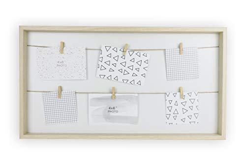 TIME HOME DEVELOPMENT Marco de Fotos Múltiple Madera con Pinzas y Cuerda para Colgar - Collage Decoración para Pared Original Colgador de Fotos 10x15 cm o Mensajes
