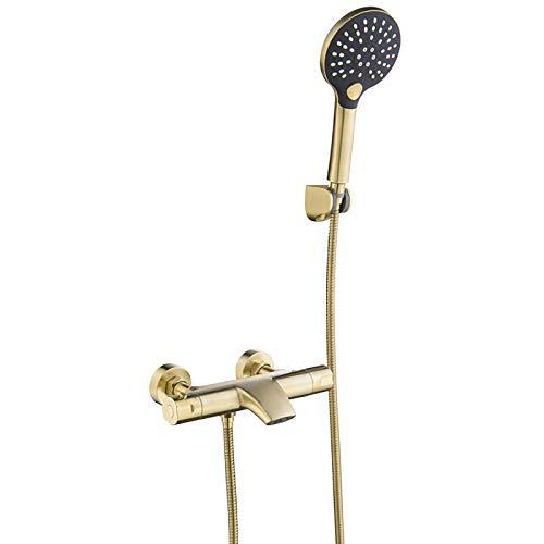 Shower Set Termostática Grifo de Bañera con Alcachofa Ducha de Mano, Montaje en Pared Grifería de Bañera Oro Cepillado Mezclador de Bañera