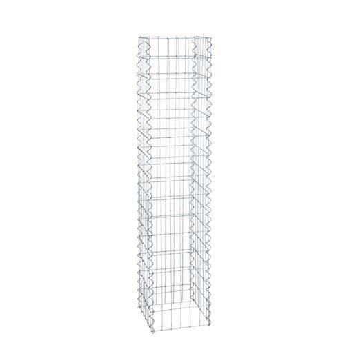 ESTEXO Gabionen-Säule 150 cm Höhe - feuerverzinkt - 4-Eck Säulengabione, Steinkorb,Gabione, Maschung, 10x5 cm …