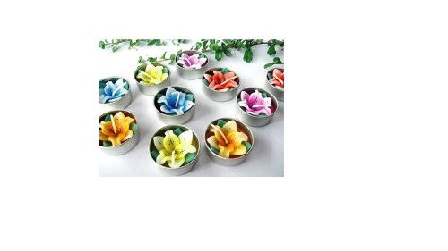 Relax spa shop Lilly Flower Candle in Tea Lights, Floating Candles, Scented Tea Lights, Aromatherapy Relax (Pack of 10 Pcs.)