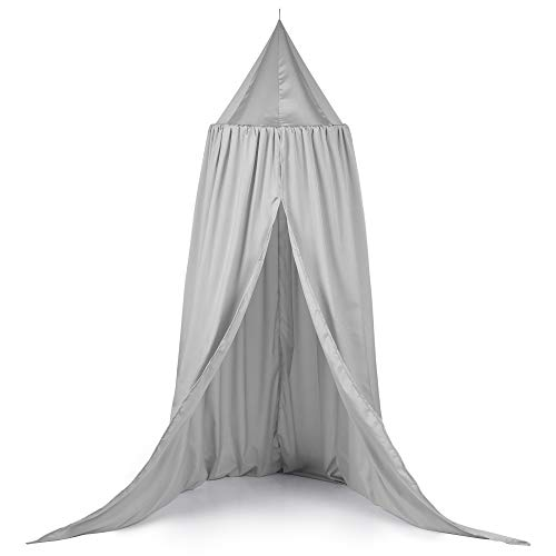 TILLYOU Baby Bed Canopy, Silky Soft Microfiber Canopy for Crib and Toddler Bed, Hanging Game Tent for Kids, Mosquito Net Nursery Play Room Decor, Gray