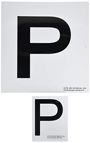 """4R Quattroerre.it - 1571 - Contrassegno """"P"""" Principiante con Ventose, Set di 2 Pezzi Anteriore + Posteriore"""