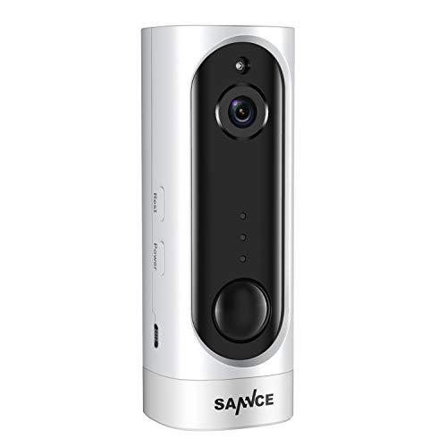 SANNCE IP Cámara Recargable de Seguridad 720P con batería Incorporado y PIR detección de Movimiento Visión Nocturna con IR-Leds Audio bidireccional soporta 128GB Tarjeta TF(no Incluido)
