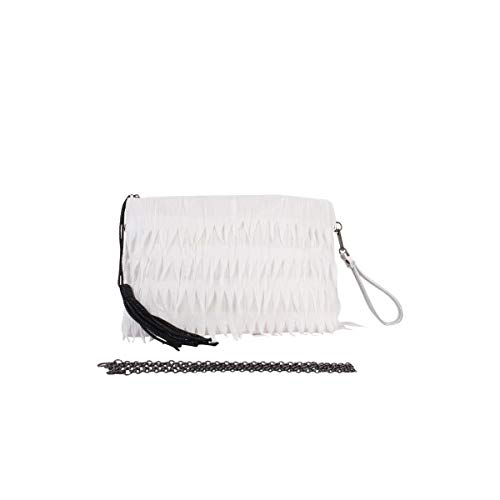 Angkorly - Bolsa de mano Envelope Clutches de mano Mini crossbody Tote bag Fleco Pompom Folk/Etnico Bohemia Flexible para bodas y fiestas mujer elegante de de moda idea de regalo