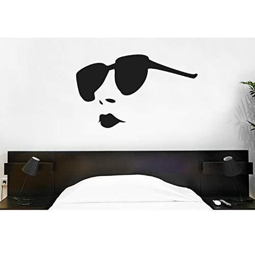 Moderne Zonnebril Vrouw Muur Sticker Lippen Vinyl Muur Stickers Meisje Slaapkamer Patroon Verwisselbare Interieur Home Art 57X35Cm