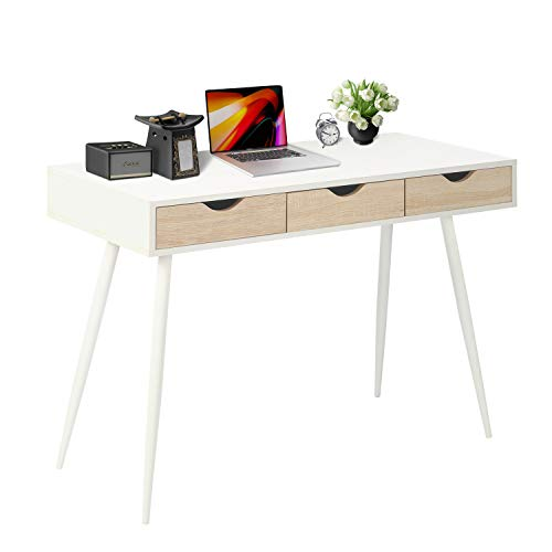 Computer Desk with Large Wood Grain Drawers Writing Desk for Home Office,Modern Design,Metal Legs (3 Drawers, White)