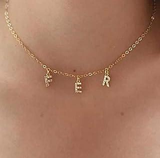 Collana con lettera con zirconi - Collana iniziale - Collana con nome - Catena con lettere - Personalizzabile