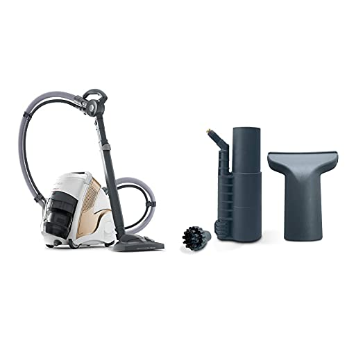 Polti Unico MCV85_Total Clean & Turbo Aspirador 3 en 1, aspiración y Vapor, 6 Bares, 2200 W, 0.8 litros + Polti PAEU0294- Kit de Accesorios para aspirar y Limpiar con Vapor compatibles con Vaporetto