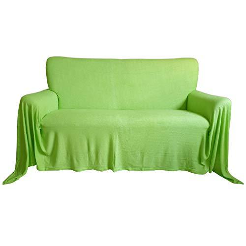 Nurtextil24 Sofaüberwurf Frottee Baumwolle Elastisch (weitere Variante verfügbar) Couch Überwurf Kiwigrün 150 x 250 cm
