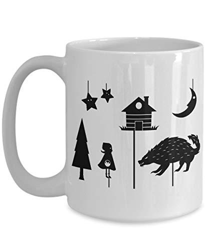 N\A Taza de café para titiriteros, la Mejor Taza de té única Divertida para Marionetas de sombrasIdea Hombres y Mujeres: marioneta de Sombras, Capucha roja, Cuentos de Hadas, espec