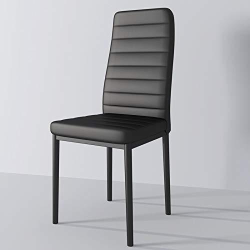 NAVIOCEAN Silla de comedor de cuero de muestra esmerilada para vestidor comedor hierro silla de ocio para hotel restaurante sala de entrenamiento banquete conjunto de 6