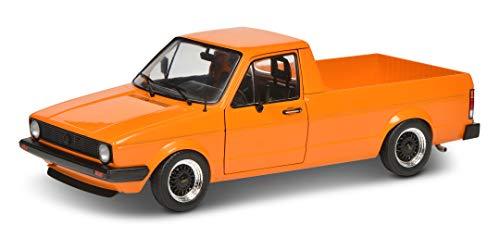 Solido 421185330 S1803502 VW Caddy, MK1, Pritschenwagen, Baujahr 1982, Modellauto, Maßstab 1:18, orange metallic