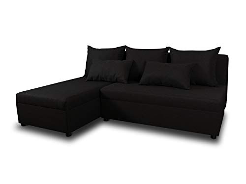 Ecksofa Pono mit Schlaffunktion - Couchgarnitur, Eckcouch, Sofa, Sofagarnitur, Bettsofa, L-Form Couch, Schlafsofa - Ottomane Universal (Schwarz (Sawana 14))