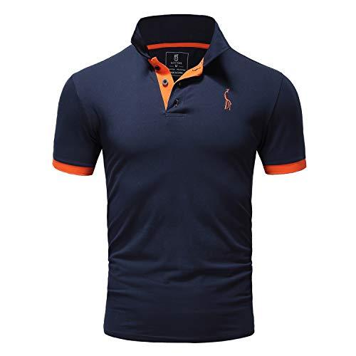 GLESTORE Polo Homme Manche Courte Le Golf Tennis T-Shir pour Homme Marine XL