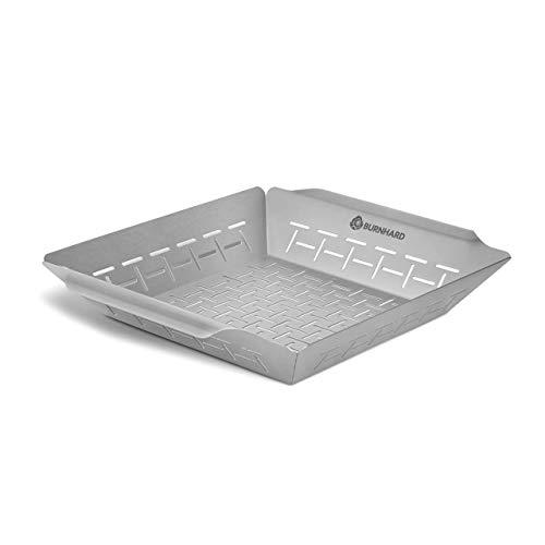 Grillkorb/Grillschale für Gemüse, Edelstahl, Gemüsekorb für Gasgrill, Spülmaschinenfest - Grillkorb 35,5x30x5,5 cm
