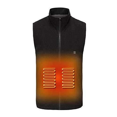 Fleece vest voor dames en heren, verstelbaar in de winter, mouwloze mantel met rug en buik opwarmen, voor het vangen van vissen, skiën en camping (niet inbegrepen) Large zwart