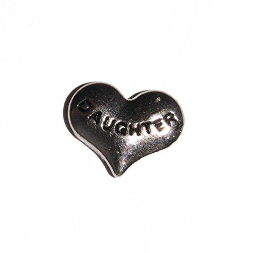 Abalorio con forma de corazón de color negro de 10mm, para medallones tipo Origami Owl