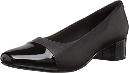 Clarks womens Chartli Diva Pump, Black Leather/Synthetic Combo, 7 Wide US