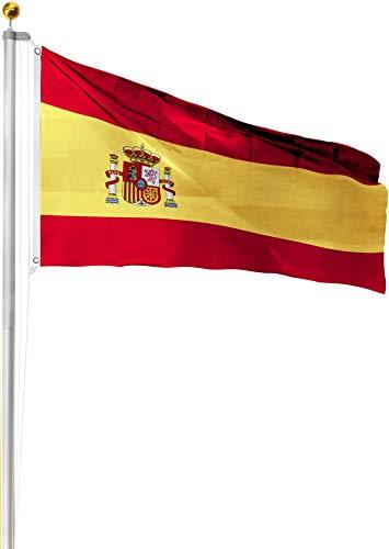 normani Aluminium Fahnenmast 6,20 6,80 oder 7,50 Meter Höhe inkl. Deutschlandfahne mit Adler oder Österreich 90x150 Farbe Spanien Größe 7.5 Meter