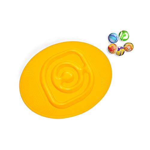 ZXIAQI Kinder Labyrinth Balance Board Sportspielzeug, Geschicklichkeit und Geduld Puzzle und Gleichgewichtstraining in einem, ab 3 Jahren, 36x46cm,Gelb