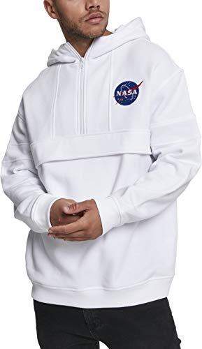 Mister Tee NASA Chest Embroidery Pull Over Hoody, Sweatshirt Men's, White, S